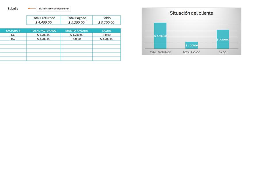 Planilla de Excel de Reporte de Facturas con Pagos Parciales