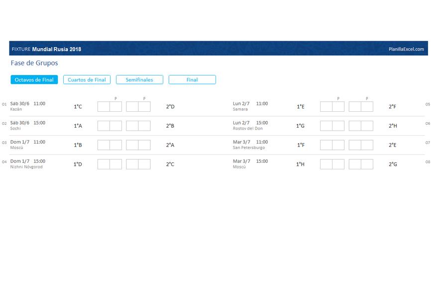 Fixture del Mundial 2018 en Excel