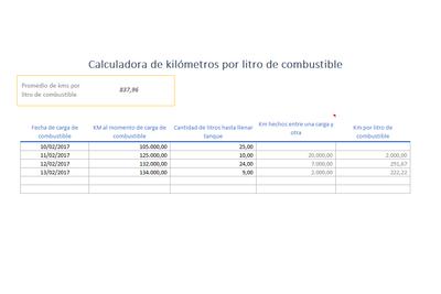 Planilla de Excel de Cálculo de KM por litro