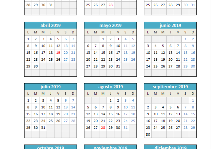 Calendario 2019 Julio Chile.Planillaexcel Descarga Plantillas De Excel Gratis