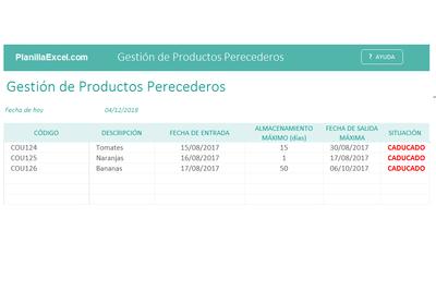 Planilla de Excel de Gestión de Productos Perecederos