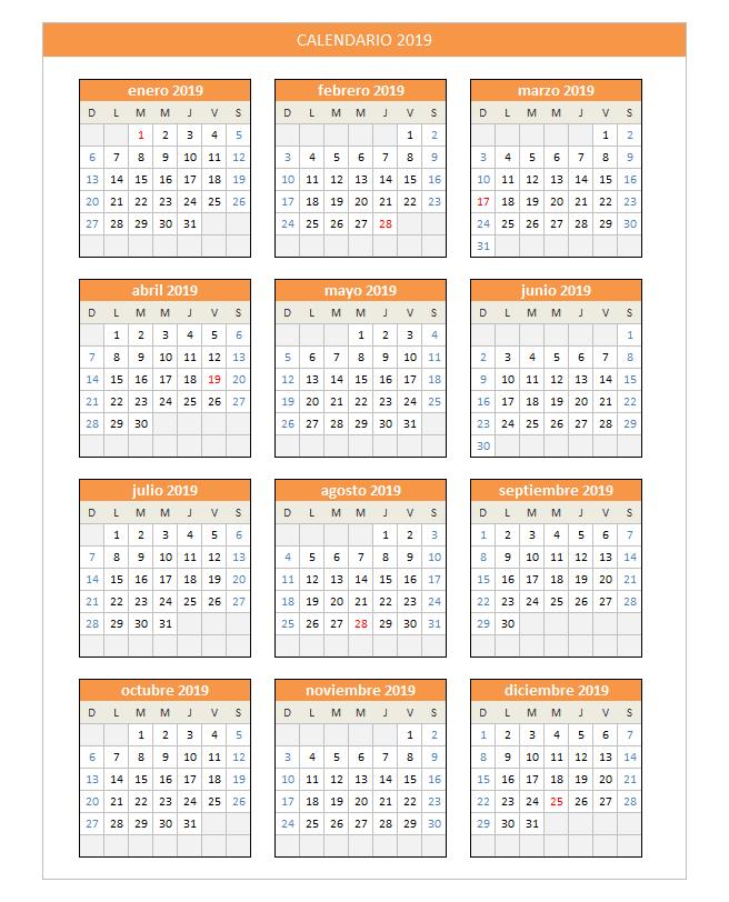Calendario Con Semanas 2019 Para Imprimir.Planillaexcel Descarga Plantillas De Excel Gratis