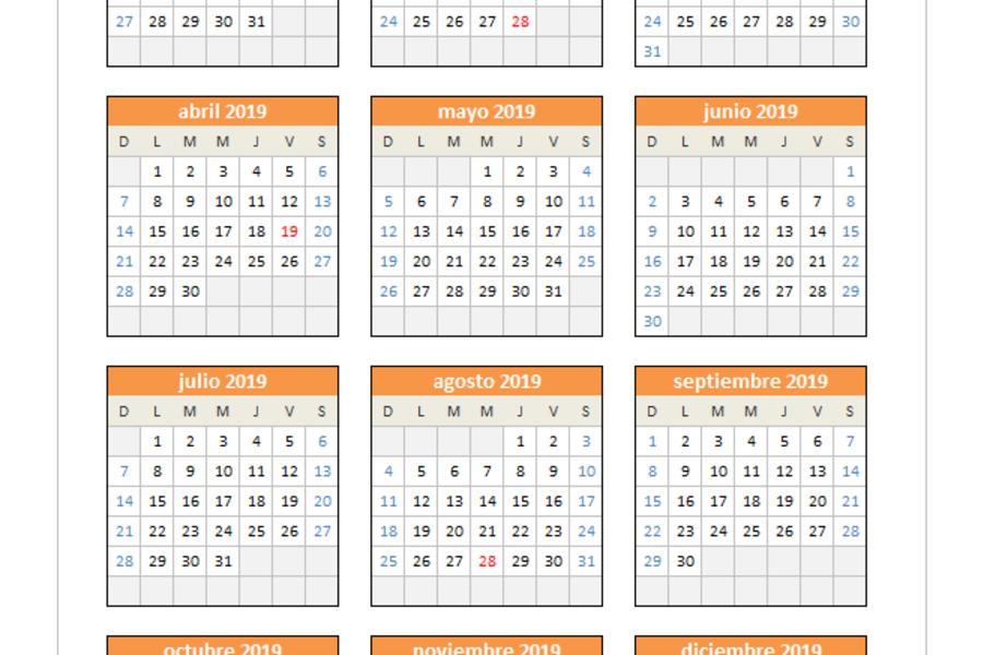 Calendario 2019 Chile Con Feriados Para Imprimir.Calendario Semanal 2019