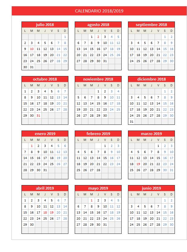 Calendario 2018 2019 Planillaexcel Com