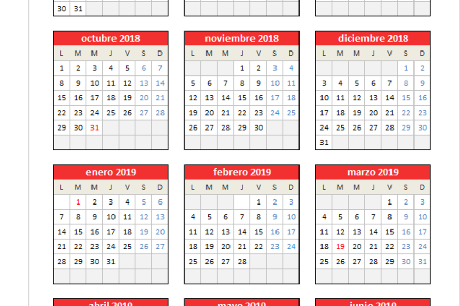 Calendario 2019 Chile Con Feriados Para Imprimir.Planillaexcel Descarga Plantillas De Excel Gratis