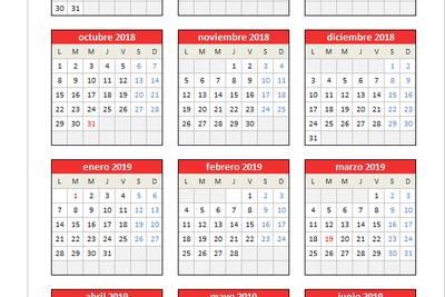 Calendario 2018/2019