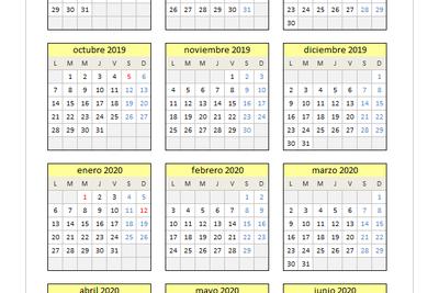 Calendario 2019/2020 en Excel
