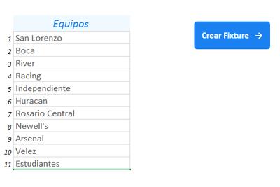 Planilla de Excel para la Generación de Fixtures