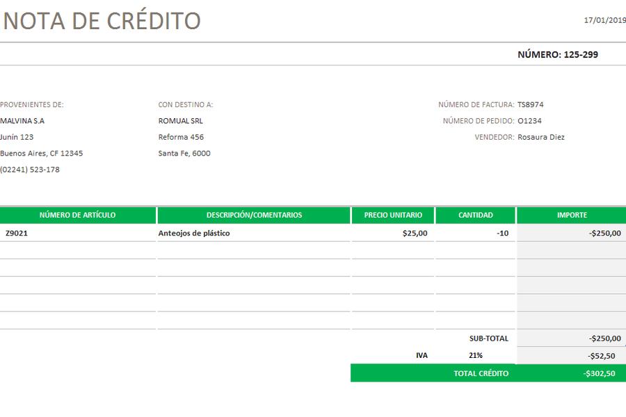 Planilla de Excel de Nota de Crédito