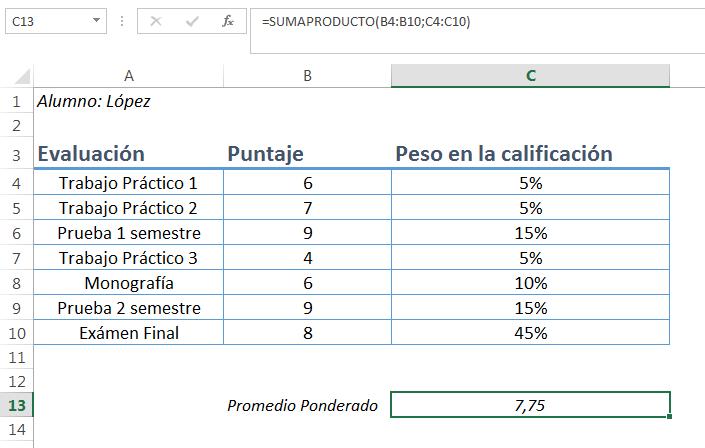 Promedio o media ponderada en Excel