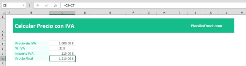 Calcular el IVA en Excel