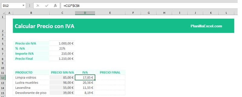Sacar el IVA en Excel