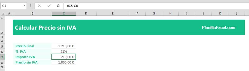 Calcular el precio sin IVA en Excel