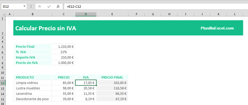 Calcular el precio sin IVA