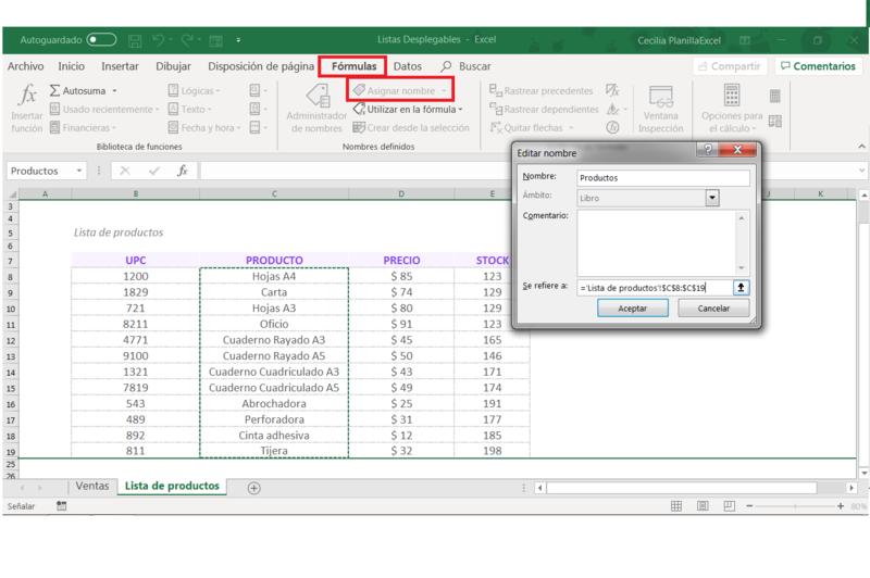 Listas desplegables en Excel