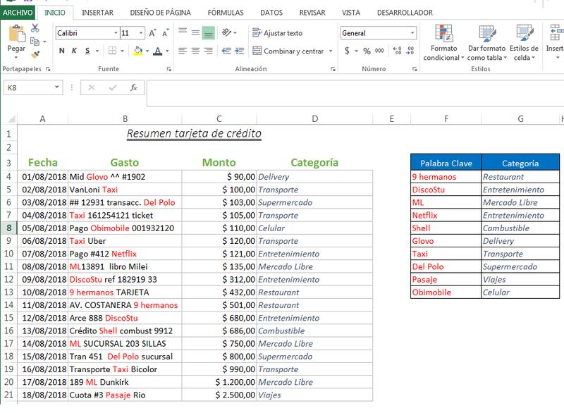 Clasificacion de un texto en funcion de una palabra clave Excel