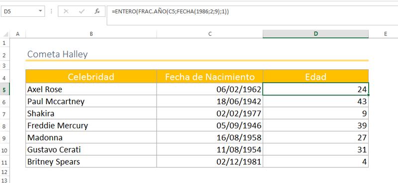 Calcular edad en Excel