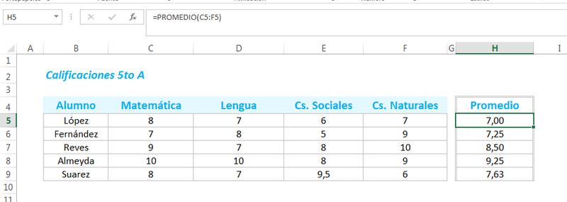 Como obtener el promedio en Excel