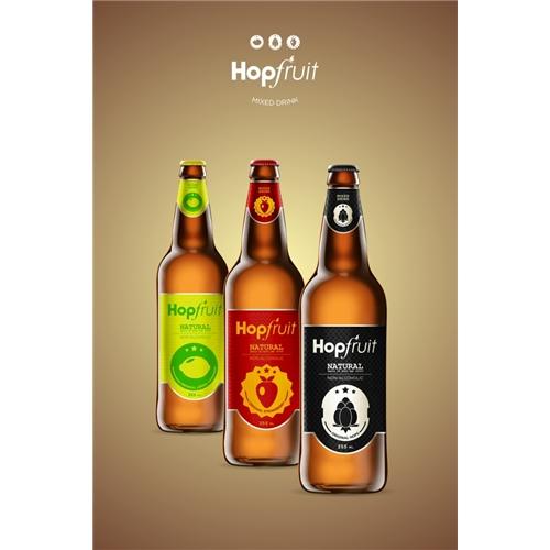 Exemplo de Peça Gráfica (unidade) do designer Huellf para HopFruit - Mixed Drink