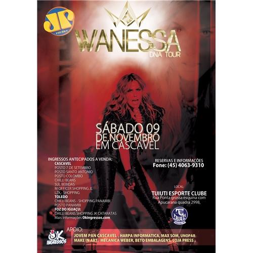 Exemplo de Folheto ou Cartaz (sem dobra) do designer Dilhermando para Cartaz para Show da Wanessa em Cascavel