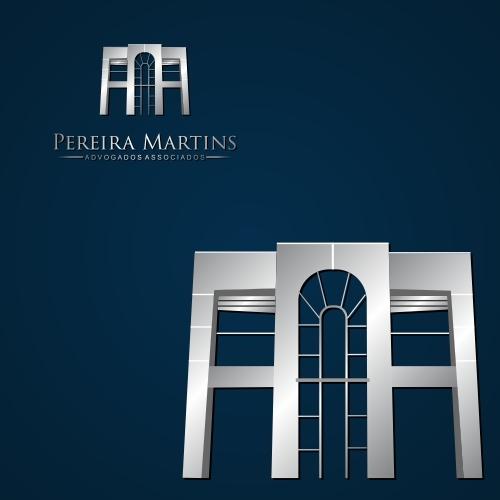 Exemplo de Logo e Papelaria (6 itens) do designer Denilson Carvalho para Pereira Martins Advogados Associados