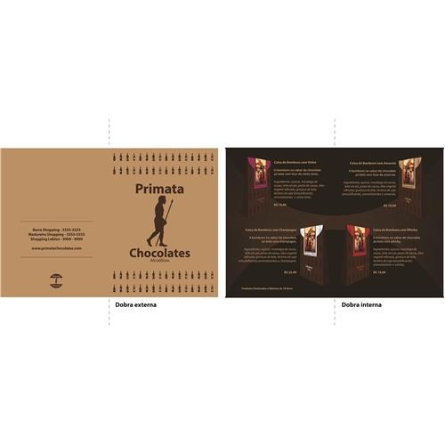 Exemplo de Logo do designer A.J. para Folder com uma dobra (frente e verso) Primata chocolates