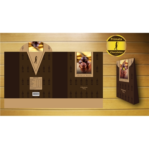 Exemplo de Embalagem (unidade) do designer A.J. para Embalagem e adesivo Primata Chocolates