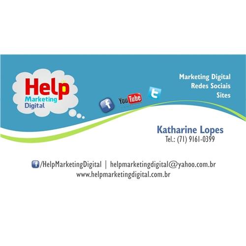 Exemplo de Logo e Cartao de Visita do designer Kathe Lopes para Help Marketing Digital