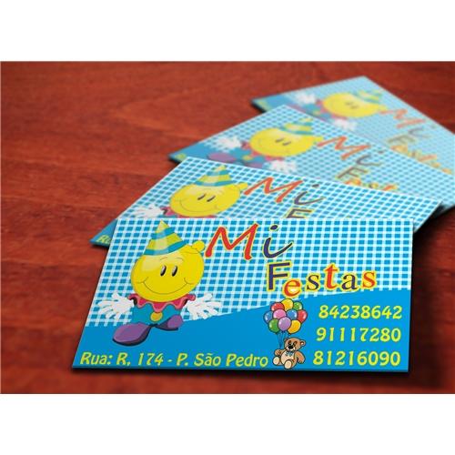 Exemplo de Logo e Cartao de Visita do designer Amauri Rufino para Cartao Mi Festas