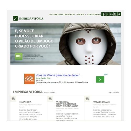 Exemplo de Layout Web-Design do designer fc-ca para Site Emprega Vitória