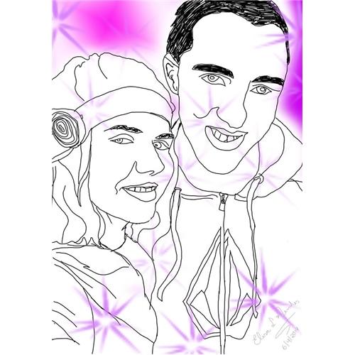 Exemplo de Ilustraçao ou Caricatura do designer Lisy Lemos para Casal