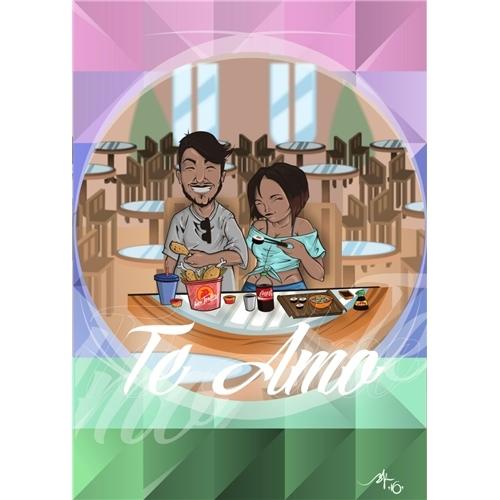 Exemplo de Ilustraçao ou Caricatura do designer Bernardo Araujo para Caricatura digital.