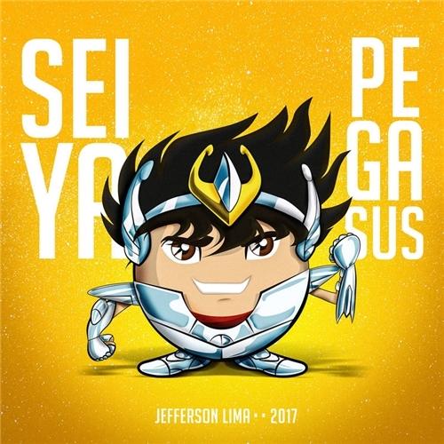 Exemplo de Ilustraçao ou Caricatura do designer Jbass Designer para CDZ Emoji - Seiya