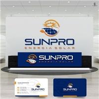 SUNNYPRO Energia Solar, Logo e Identidade, Metal & Energia