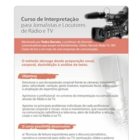 Email MKT Curso Interpretaçao p/ Jornalistas e Locutores de Rádio e TV, Cardápio, Educação & Cursos