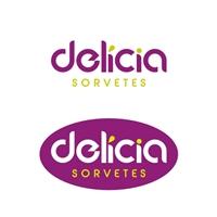 DELICIA SORVETES, Logo e Cartao de Visita, Alimentos & Bebidas