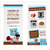 Panfleto para petshop virtual 10x21cm, Kit Mega Festa, Animais
