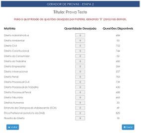 Geração provas para Exame OAB - Site Prova da Ordem