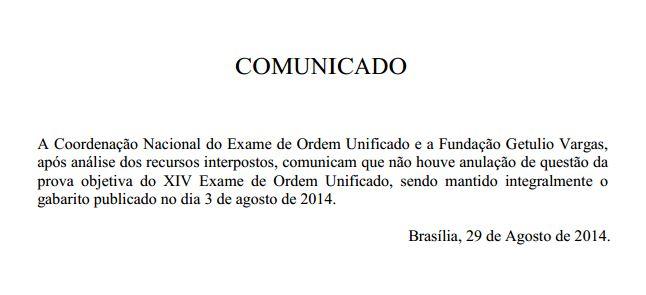 Comunicado FGV sobre anulações no XIV Exame de Ordem