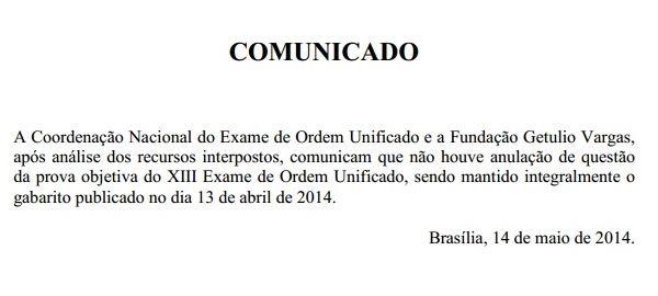 Comunicado FGV sobre anulações no XIII Exame de Ordem