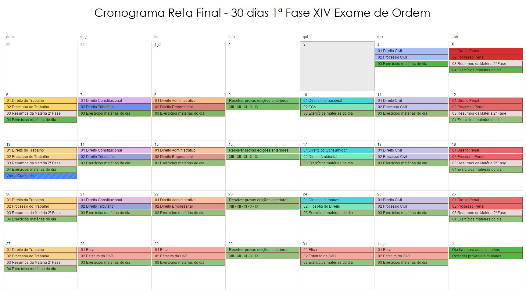 Cronograma Reta Fibal 1ª Fase XIV Exame de Ordem - OAB