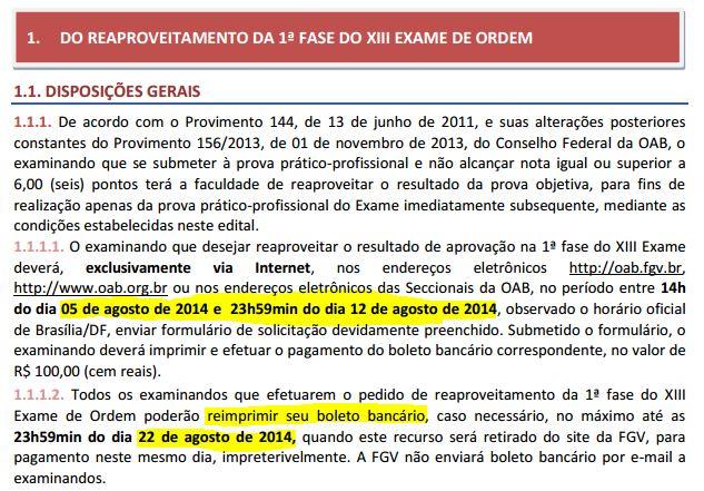 Trechos do edital repescagem do XIV Exame de Ordem - OAB
