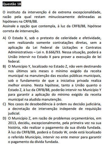 Questão passível de anulação XIV Exame da OAB - Direito Constitucional