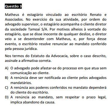 Questão passível de anulação XIV Exame da OAB - Ética e Estatuto da OAB