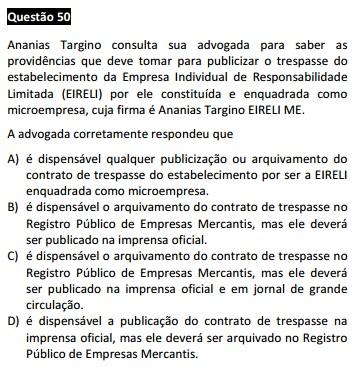 Questão passível de anulação XIII Exame da OAB - Direito Empresarial