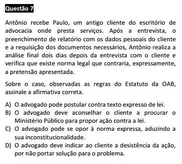 Questão passível de anulação XV Exame da OAB - Ética