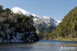 parque huerquehue - laguna - nieve - bosques - chile