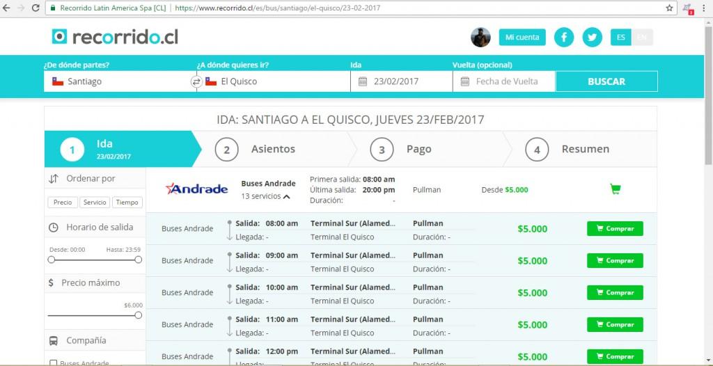 recorridocl - santiago - el quisco - buses andrade