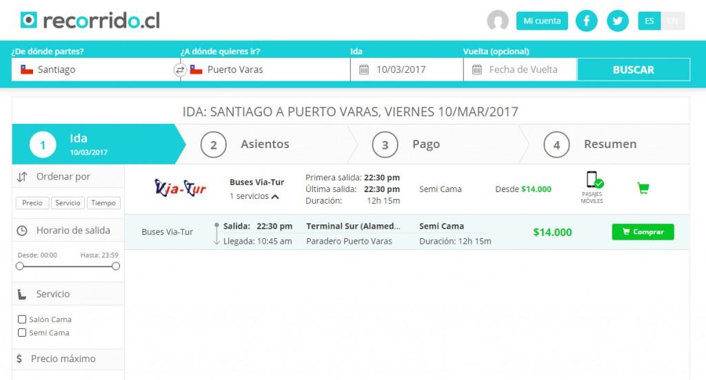 viatur - 14000 - semi cama - puerto varas - santiago