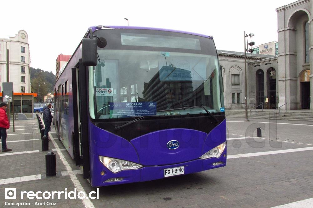 Bus eléctrico BYD K9 en Plaza Independencia (Concepción)